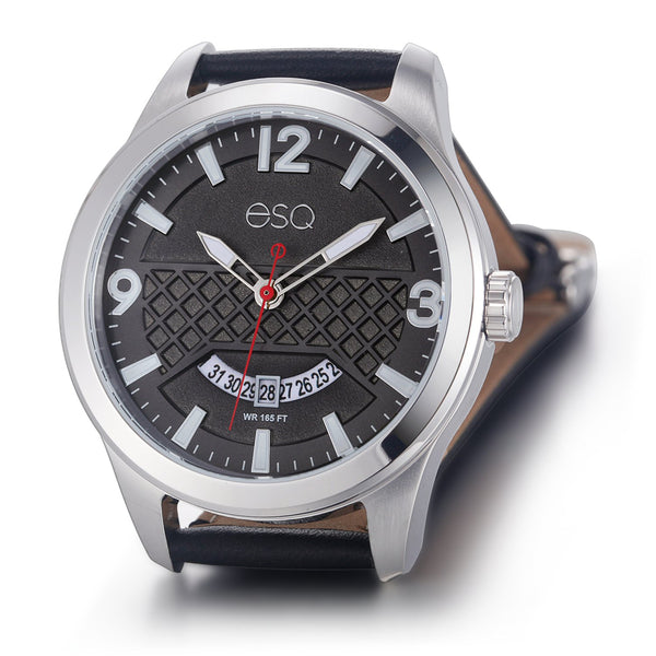 Men's ESQ0080 Stainless Steel 3-Hand Watch with Textured Black Dial, Date Window and Genuine Leather Strap