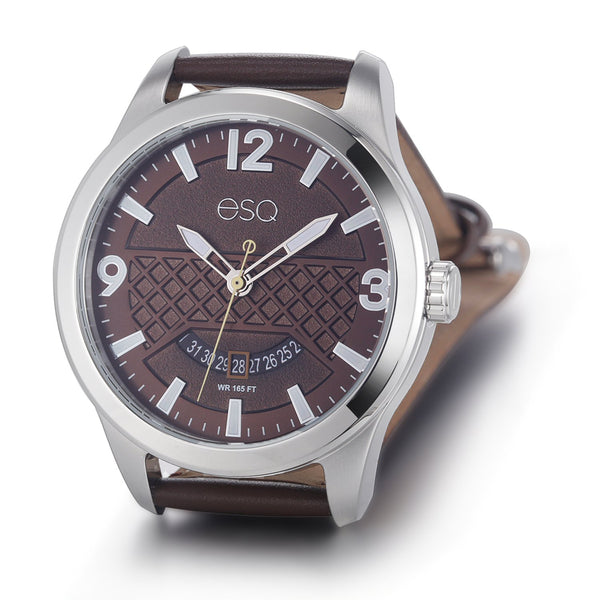 Men's ESQ0081 Stainless Steel 3-Hand Watch with Textured Brown Dial, Date Window and Genuine Leather Strap