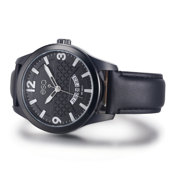 Men's ESQ0082 Stainless Steel 3-Hand Watch with Brushed Black IP Finish, Textured Black Dial, Date Window and Genuine Leather Strap