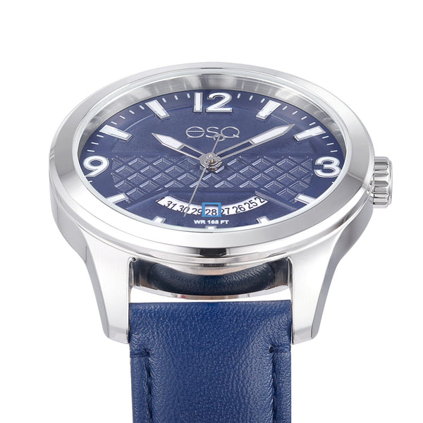 Men's ESQ0083 Stainless Steel 3-Hand Watch with Textured Blue Dial, Date Window and Genuine Leather Strap
