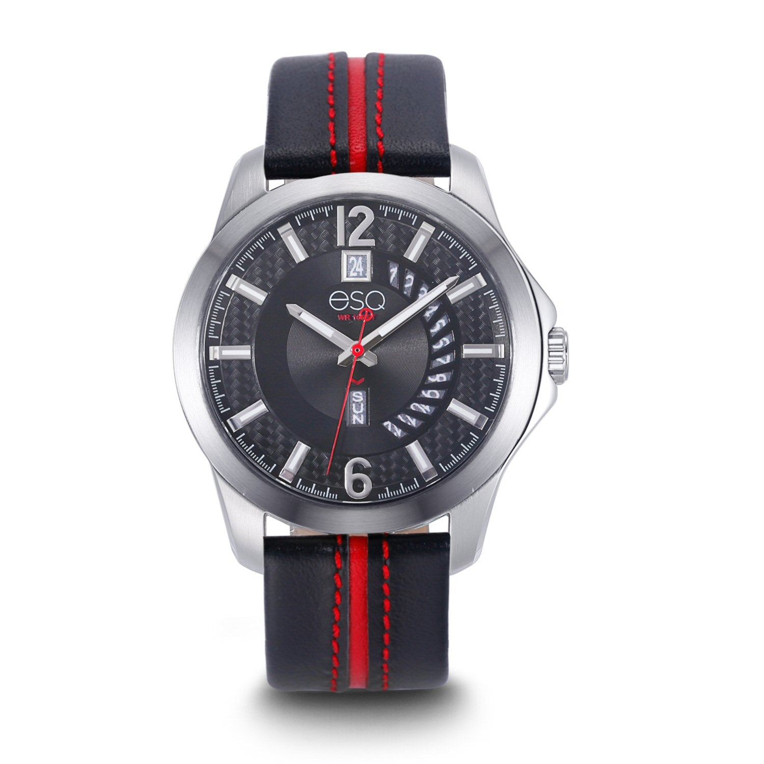 Men's ESQ0090 Stainless Steel 3-Hand Watch with Textured Black Dial, Day/Date Windows and Genuine Leather Strap