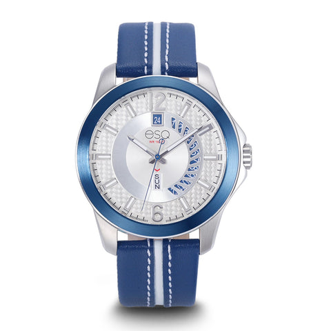 Men's ESQ0091 Stainless Steel 3-Hand Watch with Textured Silver Dial, Blue IP Bezel, Day/Date Windows and Genuine Leather Strap