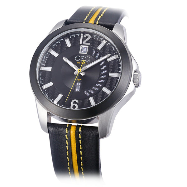 Men's ESQ0092 Stainless Steel 3-Hand Watch with Textured Black Dial, Black IP Bezel, Day/Date Windows and Genuine Leather Strap