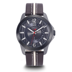 Men's ESQ0093 Gun Metal IP Stainless Steel 3-Hand Watch with Textured Grey Dial, Black IP Bezel, Day/Date Windows and Genuine Leather Strap