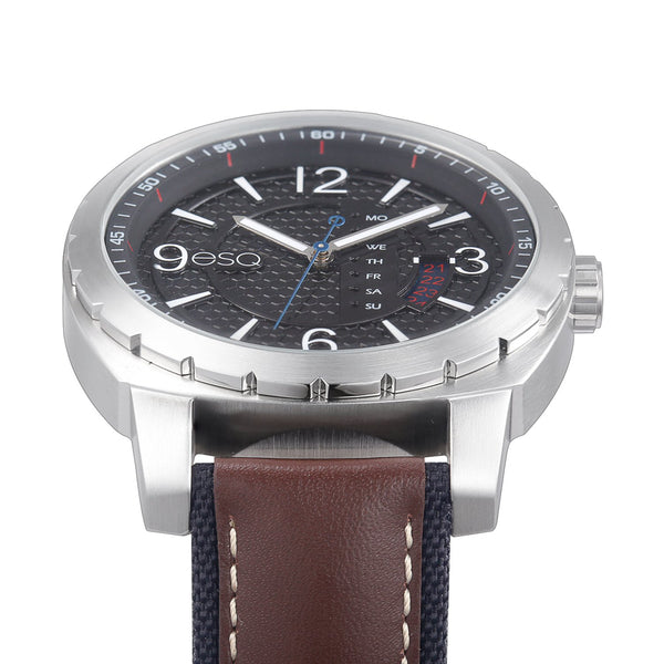 Men's ESQ0110 Stainless Steel 3-Hand Watch with Textured Black Dial, Day/Date Windows and Genuine Leather Strap