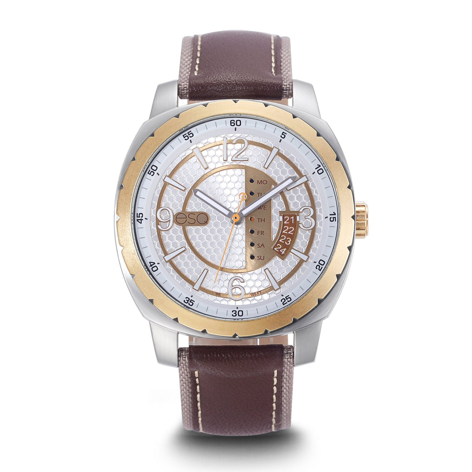 Men's ESQ0111 Stainless Steel 3-Hand Watch with Textured Silver and Gold Dial, Gold IP Bezel, Day/Date Windows and Genuine Leather Strap