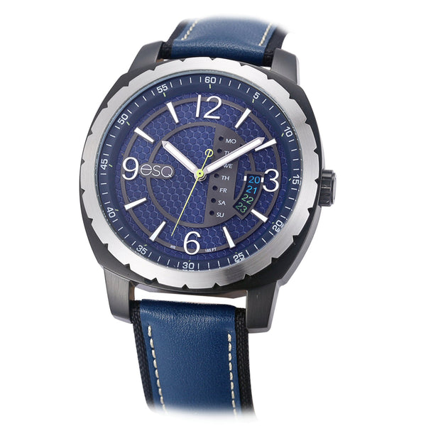Men's ESQ0112 Stainless Steel 3-Hand Watch with Textured Blue Dial, Gun Metal IP Case, Day/Date Windows and Genuine Leather Strap