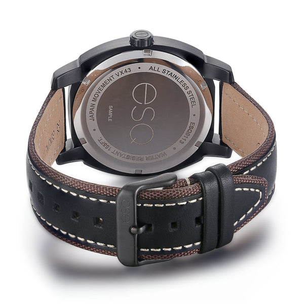 Men's ESQ0113 Stainless Steel 3-Hand Watch with Textured Black Dial, Black IP Case and Bezel, Day/Date Windows and Genuine Leather Strap
