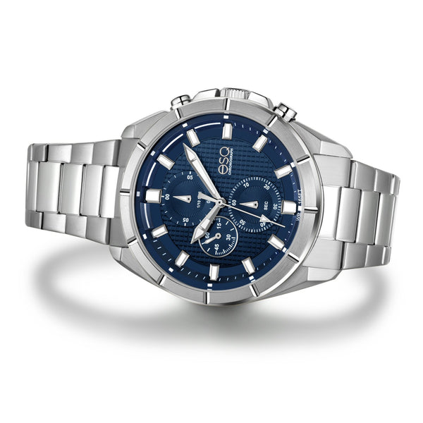 Men's ESQ0130 Stainless Steel Chronograph Bracelet Watch with Textured Blue and White Dial