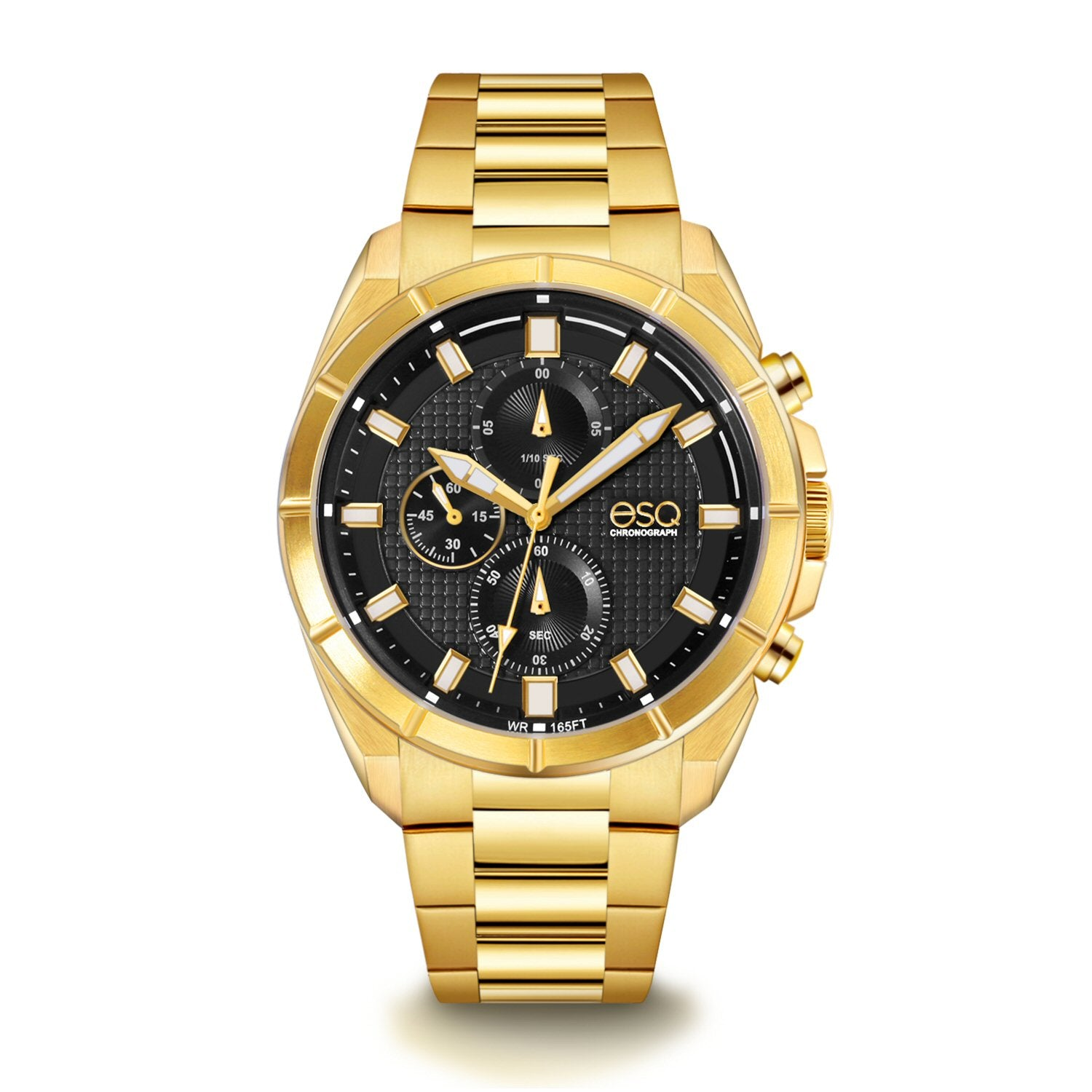 Men's ESQ0131 Gold IP Stainless Steel Chronograph Bracelet Watch with Textured Black and White Dial