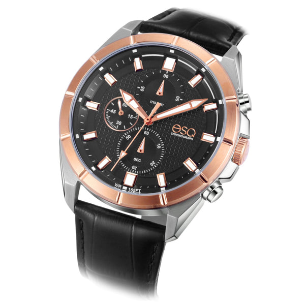 Men's ESQ0133 Stainless Steel Two-Tone Chronograph Bracelet Watch with Textured Black Dial and Genuine Leather Strap