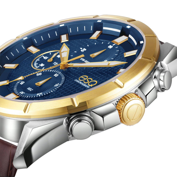 Men's ESQ0134 Stainless Steel Two-Tone Chronograph Bracelet Watch with Textured Blue Dial and Genuine Leather Strap