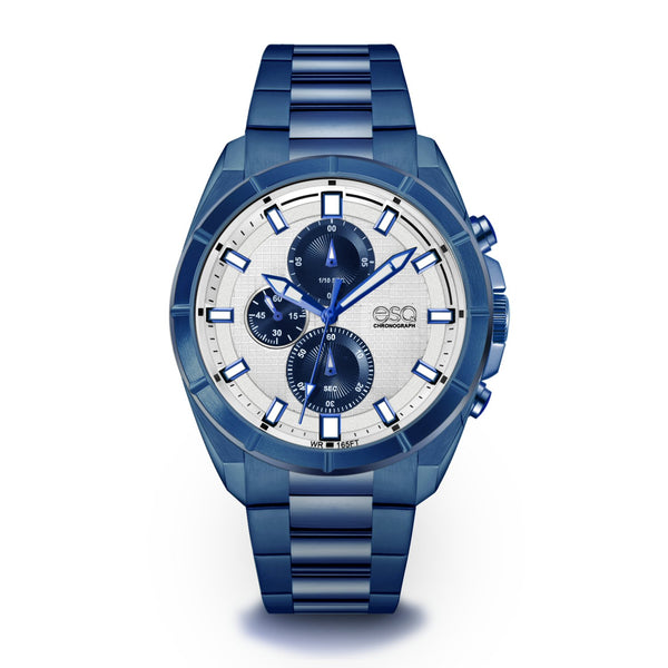 Men's ESQ0135 Blue IP Stainless Steel Chronograph Bracelet Watch with Textured Blue and Silver Dial