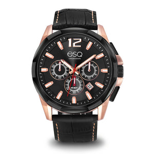 Men's ESQ0140 Stainless Steel Two-Tone Chronograph Watch with Textured Black Dial and Genuine Leather Strap