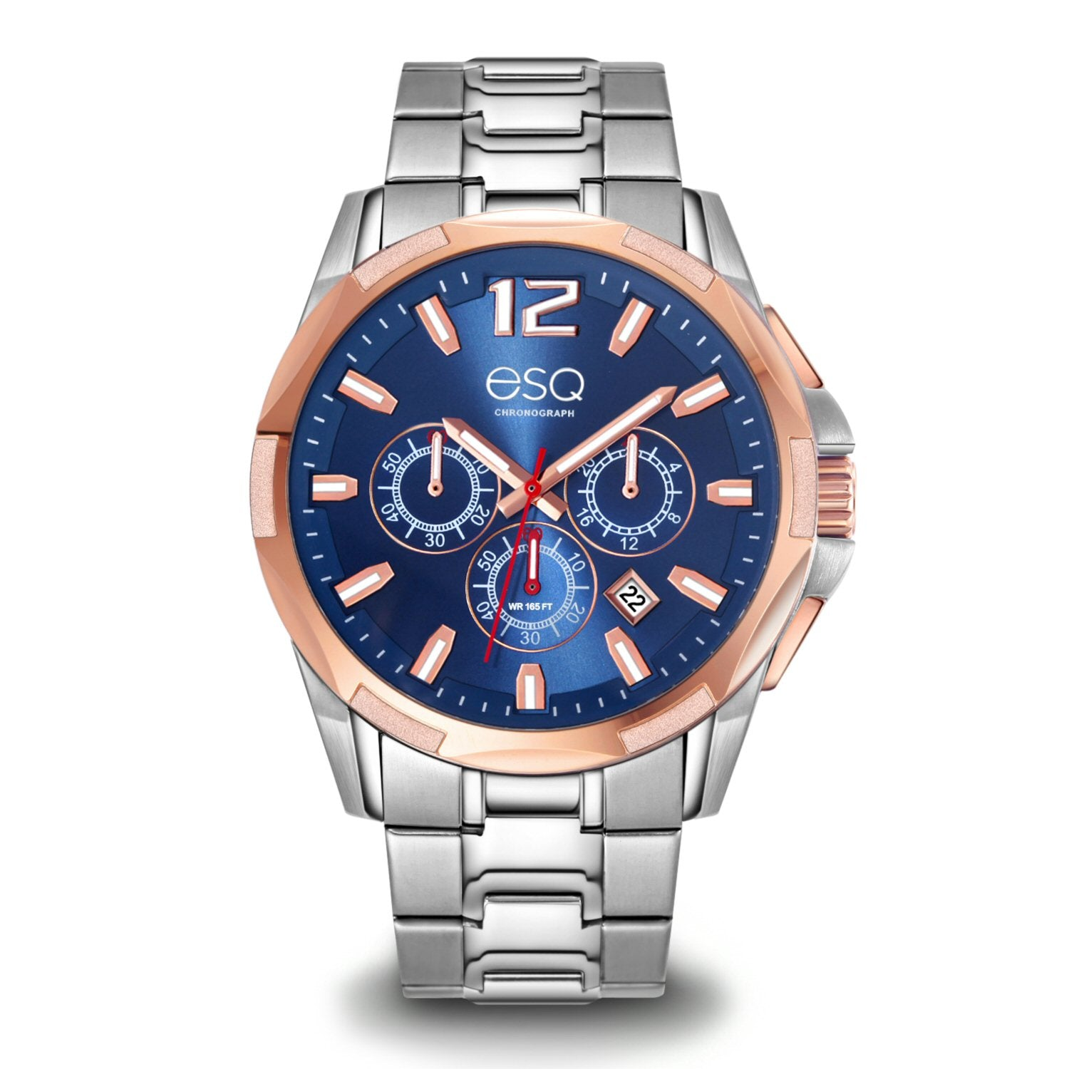 Men's ESQ0141 Stainless Steel Two-Tone Chronograph Bracelet Watch with Textured Blue Dial