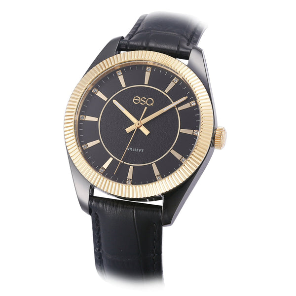 Men's ESQ0150 Stainless Steel Two-Tone Crystal Accent Watch with Textured Black Dial and Genuine Leather Strap