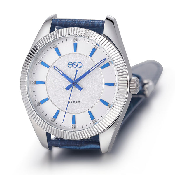 Men's ESQ0152 Stainless Steel Crystal Accent Watch with Textured Silver and Blue Dial and Genuine Leather Strap