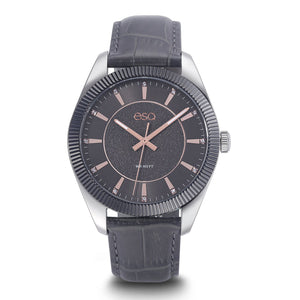 Men's ESQ0153 Stainless Steel Crystal Accent Watch with Textured Grey Dial, Gun Metal IP Bezel and Genuine Leather Strap