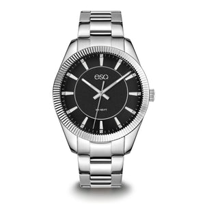 Men's ESQ0154 Stainless Steel Crystal Accent Bracelet Watch with Textured Black Dial