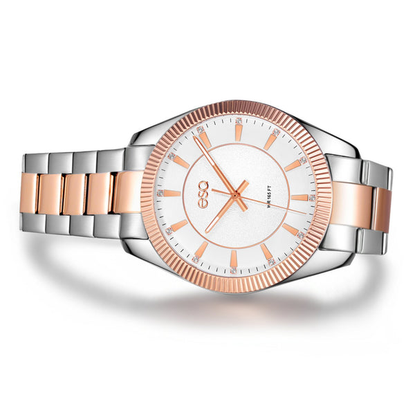 Men's ESQ0155 Stainless Steel Two-Tone Crystal Accent Bracelet Watch with Textured White Dial