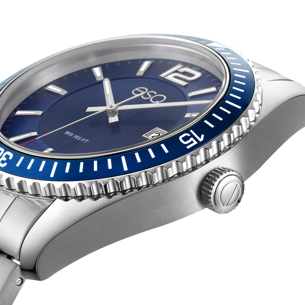 Men's ESQ0160 Stainless Steel Bracelet Watch with Textured Blue Dial, Blue IP Bezel and Date Window
