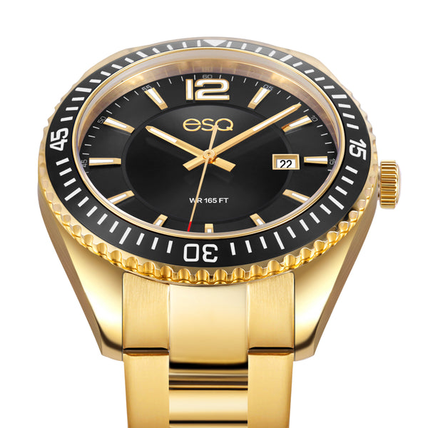 Men's ESQ0161 Stainless Steel Gold IP Bracelet Watch with Textured Black Dial, Matching IP Bezel and Date Window
