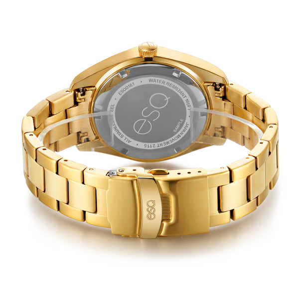 Men's ESQ0162 Stainless Steel Gold IP Bracelet Watch with Textured Blue Dial, Matching IP Bezel and Date Window