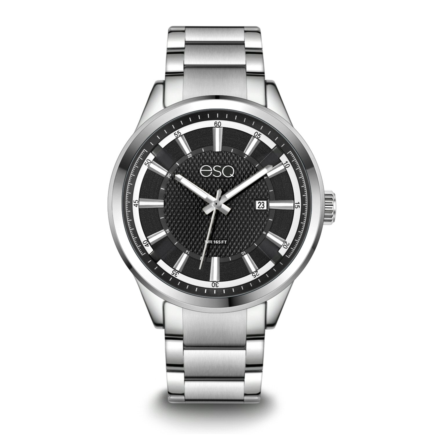 Men's ESQ0170 Stainless Steel Bracelet Watch with Textured Black Dial and Date Window