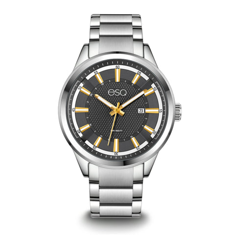 Men's ESQ0171 Stainless Steel Bracelet Watch with Textured Grey Dial and Date Window