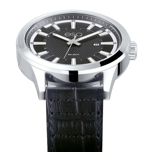 Men's ESQ0172 Stainless Steel Watch with Textured Black Dial, Date Window and Genuine Leather Strap