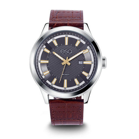 Men's ESQ0173 Stainless Steel Watch with Textured Grey Dial, Date Window and Genuine Leather Strap