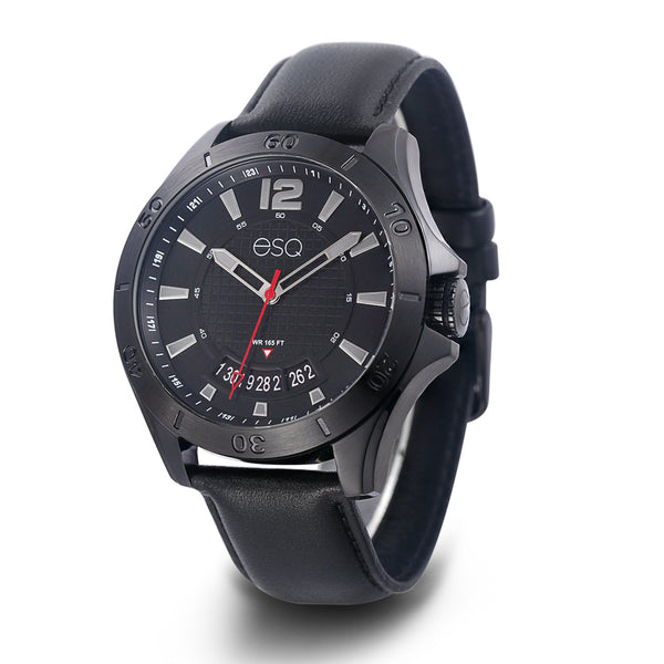 Men's ESQ0180 Stainless Steel Black IP Watch with Textured Black Dial, Date Window and Genuine Leather Strap