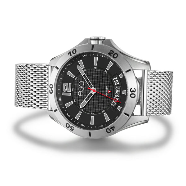 Men's ESQ0181 Stainless Steel Watch with Textured Black Dial, Date Window and Stainless Steel Mesh Bracelet