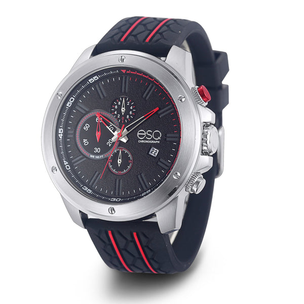 Men's ESQ0192 Stainless Steel Chronograph Watch with Textured Black and Red Dial, Date Window and Silicone Strap