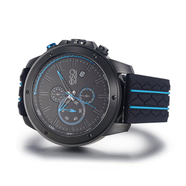 Men's ESQ0193 Stainless Steel Chronograph Watch with Brushed Black IP Finish, Textured Black and Blue Dial, Date Window and Silicone Strap