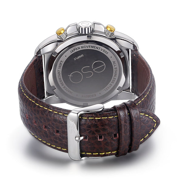 Men's ESQ0211 Stainless Steel Chronograph Watch with Textured Brown Dial, Edge-to-Edge Crystal and Genuine Leather Strap