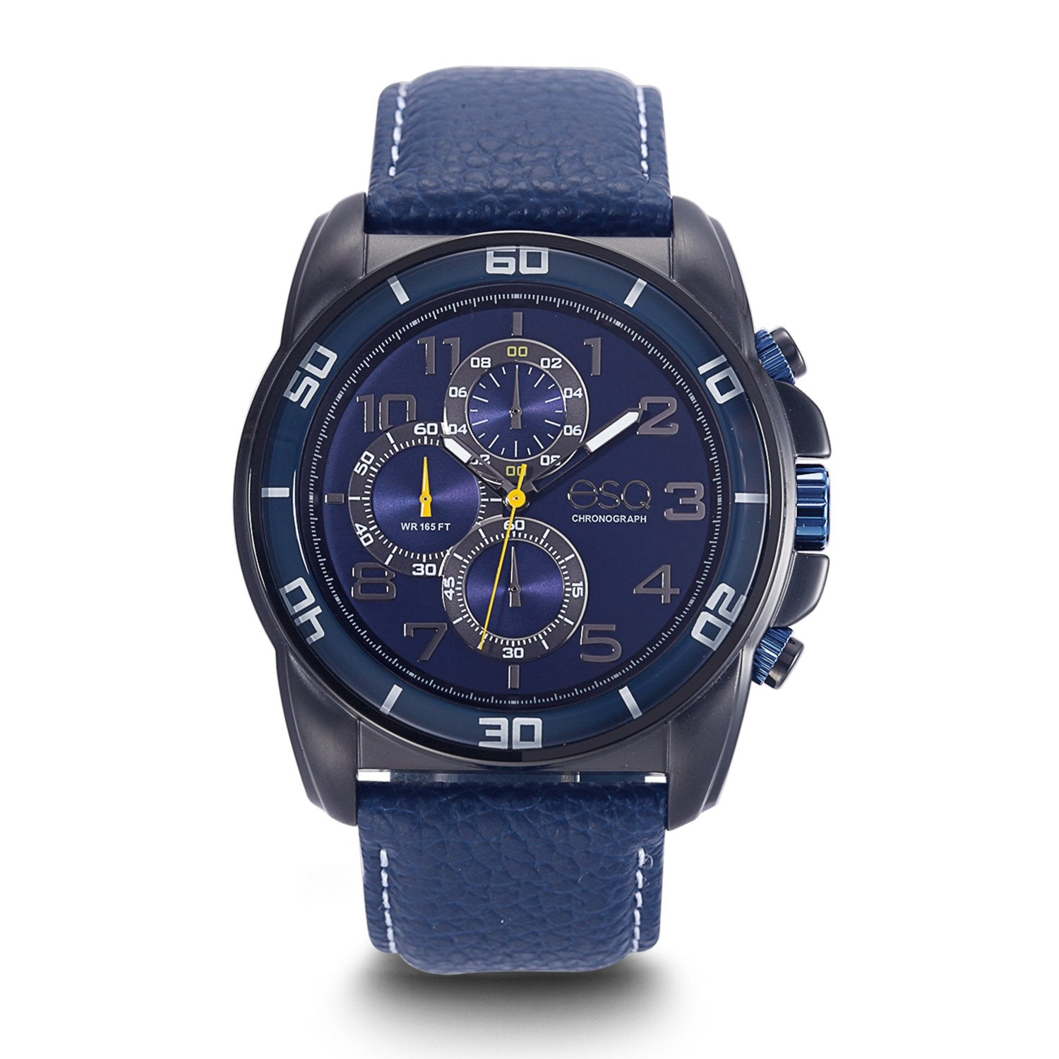 Men's ESQ0212 Stainless Steel Chronograph Watch with Black IP Finish, Textured Blue Dial, Edge-to-Edge Crystal and Genuine Leather Strap