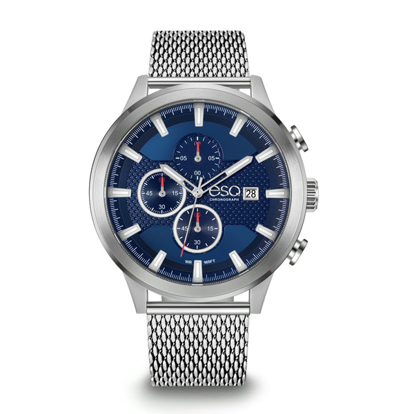 Men's ESQ0223 Stainless Steel Chronograph Watch with Textured Blue Dial, Date Window and Stainless Steel Mesh Bracelet