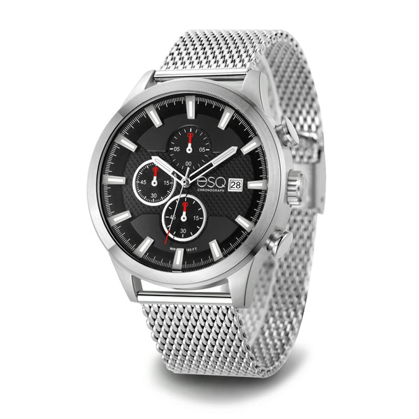 Men's ESQ0224 Stainless Steel Chronograph Watch with Textured Black Dial, Date Window and Stainless Steel Mesh Bracelet