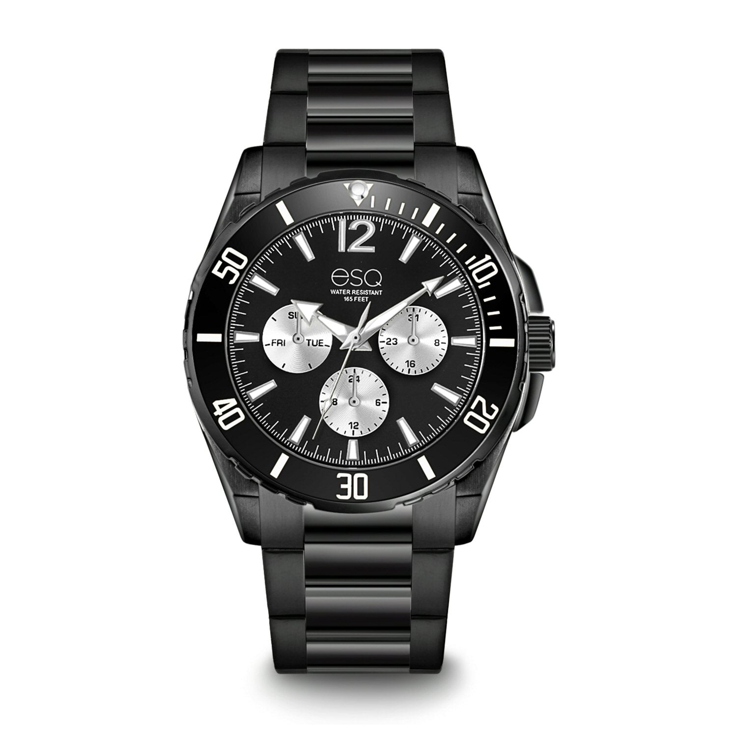 Men's ESQ0240 Stainless Steel Multifunction Bracelet Watch with Black IP Finish and Black and Silver Dial