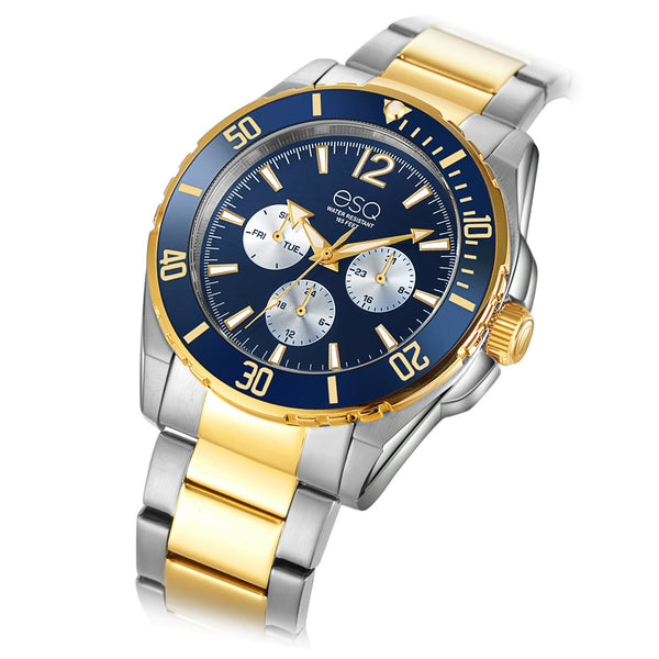 Men's ESQ0241 Two-Tone Stainless Steel Multifunction Bracelet Watch with Matching Dial