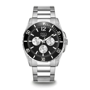 Men's ESQ0242 Stainless Steel Multifunction Bracelet Watch with Black and Silver Dial