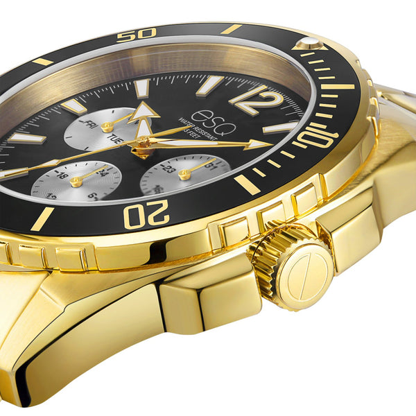 Men's ESQ0243 Stainless Steel Multifunction Gold IP Bracelet Watch with Black and Silver Dial