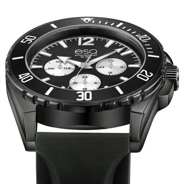 Men's ESQ0244 Stainless Steel Multifunction Black IP Watch with Black and Silver Dial and Silicone Strap