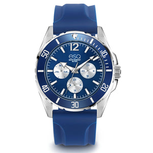 Men's ESQ0245 Stainless Steel Multifunction Watch with Blue and Silver Dial and Silicone Strap