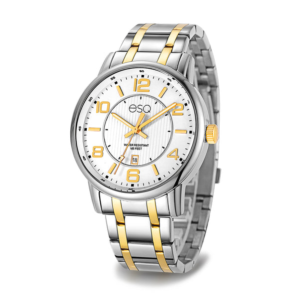 Men's ESQ0251 Stainless Steel Two-Tone Bracelet Watch with Textured White Dial and Date Window