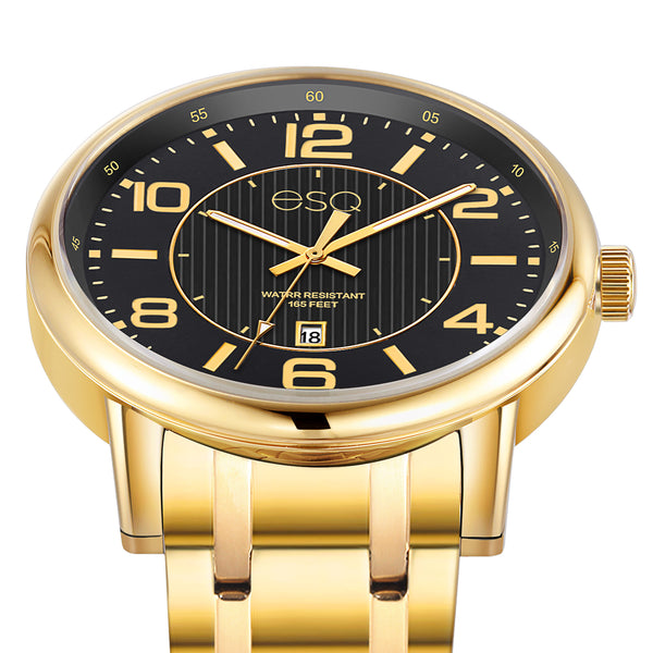 Men's ESQ0252 Stainless Steel Gold IP Bracelet Watch with Textured Black Dial and Date Window
