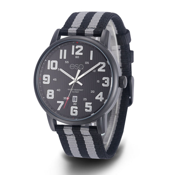 Men's ESQ0260 Stainless Steel Black IP Watch with Textured Black Dial, Date Window and Matching Nato Strap