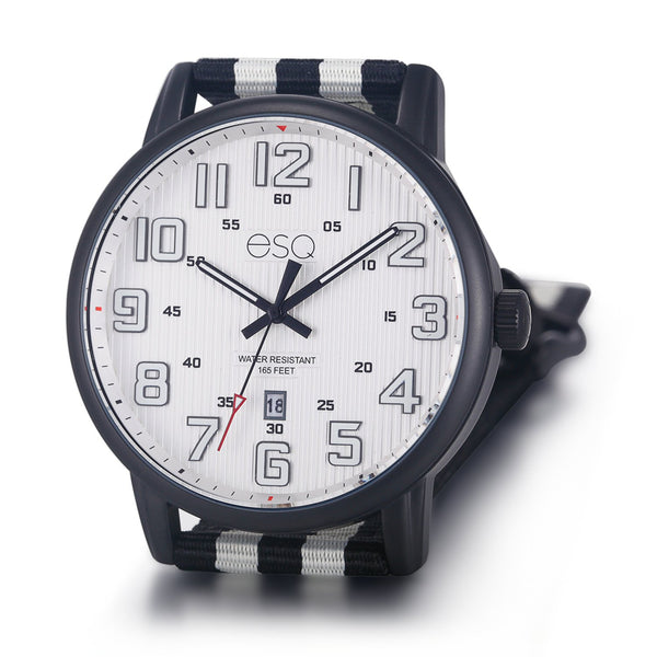 Men's ESQ0261 Stainless Steel Black IP Watch with Textured White Dial, Date Window and Matching Nato Strap