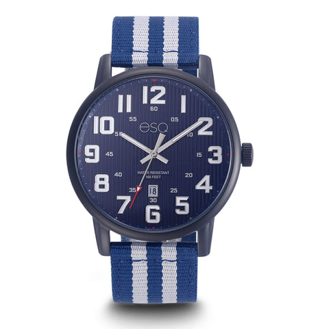 Men's ESQ0262 Stainless Steel Black IP Watch with Textured Blue Dial, Date Window and Matching Nato Strap